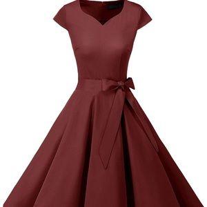 Dresses & Skirts - 1950 Style Burgundy Cap Sleeve Swing Dress XS
